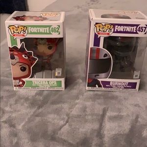 Fortnite funko pops TRICERA OPS and BURNOUT